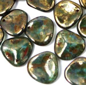 25 Czech Glass Large Rose Petals Beads - Aquamarine - Bronze Picasso 14x13mm