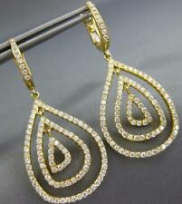 Tear Drop Clip On Hanging Earrings Estate Large 2.10Ct Diamond 18Kt Yellow Gold