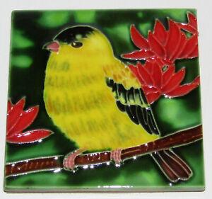 "Goldfinch Art Tile 4""x4"" Decorative Ceramic New Backsplash SD-179 Red Flowers"