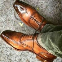 New Pure Handmade Tan Shaded Leather Lace up Brogue Shoes, Men Dress Shoes