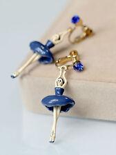 Boucles d`Oreilles Clips Danceuse Email Bleu Marine Petit Leger Original B1