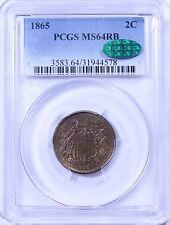 1865 Two Cent Piece: PCGS MS64RB  CAC Sticker