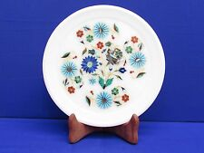 Marble Plate Inlay Multi Gemstone Pietra Dura Work Handmade Home Decor