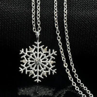Silver Frozen Snowflake Crystal Necklace Pendant Chain Christmas Gift Fashion