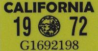 US USA California Kennzeichen License Plate Number Plate Jahres Aufkleber 1972