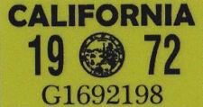 Us Estados Unidos California matrícula license plate number plate año aufkläber 1972