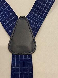 Blau Kariert Spot Y Fit Classic Clip auf Hosenträger Hosenträger Top Zustand