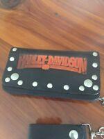 Harley-Davidson Black Leather Vintage Har-Dav Biker wallet w/ chain