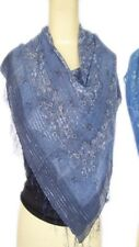 unisex Scarf high quality cotton lurex scarf paisley design bluish grey