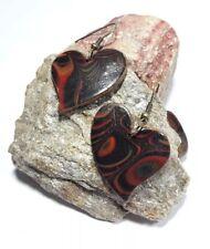 Orecchini Nero/Rosso Mokume urinarie cuore PolymerClay handmade pezzo unico