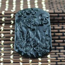 100% Natural jade black green jade jadeite tiger pendant necklace Lucky Amulet