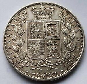 1885 Queen Victoria EF Silver Half Crown Coin
