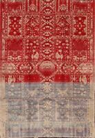 Geometric Red/Silver Distressed Tribal Area Rug Hand-Knotted Bedroom Carpet 5x7