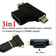 New 3 In 1 HDMI 1.4V Female To Mini / Micro Male Converter Gold Plated Adapter
