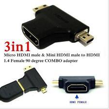 NUOVO 3 in 1 HDMI 1.4v Femmina a Mini/Micro Maschio Convertitore Adattatore Placcato Oro