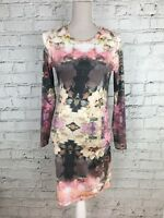 TOPSHOP - Pink Floral Print Long Sleeve Silky Feel Dress - Womens - Size 10