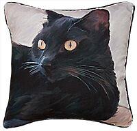 "PILLOWS  - BLACK CAT THROW PILLOW - 18"" SQUARE"