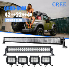 "QUAD ROW 42INCH +22"" +4"" CREE LED Light Bar Offroad Boat Truck PickUP 4WD ATV 20"
