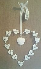 Metal White decorative love Heart..Wall plaque Hanging ribbon 21cms