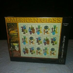 VINTAGE SEALED 513 PIECE JIGSAW PUZZLE AMERICAN GLASS STAMP USPS 1998