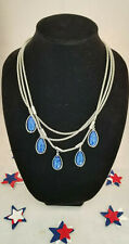 Alfani Silver-Tone Blue Stone Three-Row Frontal Necklace