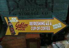 "GOLDEN GIRL COLA Sun-drop EMBOSSED METAL Arrow Advertising Sign 27x9"" NEAR MINT"