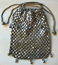 Antique Victorian Silver Drawstring Chain Mail Child French Doll Coin Purse #82