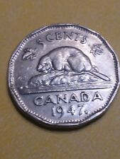 1947 MAPLE LEAF CANADA CANADIAN GEORGE VI NICKEL 5 CENT COIN