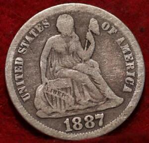 1887 Silver Philadelphia Mint Seated Liberty Dime