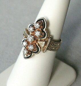 Vtg. Victorian Revival 14K Rose Gold Diamond & Enamel Ring w/ Detailed Shank