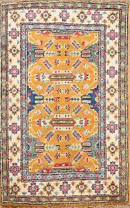 Geometric Super Kazak Oriental Area Rug ORANGE Vegetable Dye Handmade Wool 2x3