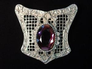 Silver Pewter VICTORIAN Floral Pin with Purple Stone