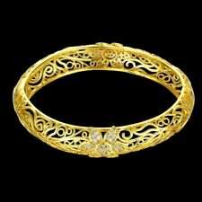 Floral Filigree Laser Cut Bangle with Swarovski Crystal in 18K Yellow Gold