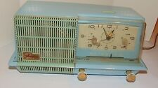 VINTAGE 1950s SPACE AGE GENERAL ELECTRIC TUBE CLOCK RADIO! BLUE! WORKS! RETRO!