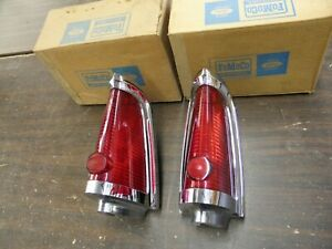 NOS OEM Ford 1961 1964 Lincoln Continental Tail Light Bezels Lenses Pr 1962 1963