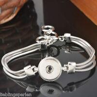 3 Armband Armbänder für Druckknopf Click Buttons Wechselschmuck Silber 20cm L/P