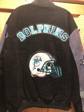 Vintage Miami Dolphins Leather Suede Jacket Men's Sz XL NFL