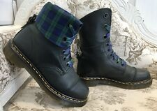 Dr Martens Aimilie Triumph, Uk Size 5, Black Leather with Tartan Linings