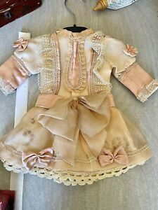 ANTIQUE silk dress for FRENCH doll 8-9 Jumeau Steiner Bru antique lace 13 Inches