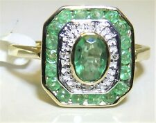9ct Yellow Gold Emerald Diamond Art Deco Design Cluster Ring size P 9 Carat
