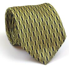"""Thomas Pink Tie Mens Silk Tie Gold And Blue Geometric Pattern 58"""" Long 3.5"""" Wide"""