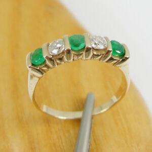Natural Emerald & Diamonds Five Stone Eternity Ring Genuine 375 9k Yellow Gold
