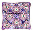 "16"" Indian Handmade Mirror Work Embroidered Decor Throw Pillow Cushion Cover Art"