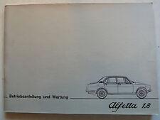 ALFA ROMEO ALFETTA 1.8 - Manuale di Istruzioni con Schema elettrico, 2.1976, 56 pagine