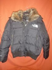 15) North Face Down hooded coat black Size L Mens Faux fur collar