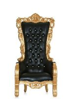 """""""Queen Latifah"""" High Back Wedding Party Accent Throne Chair - Black / Gold"""