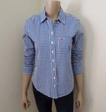 NEW Hollister Womens Plaid Shirt Size XS Button Down Top Blue & White