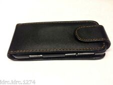 Black Luxury Leather Flip Case Cover for Nokia C3-01