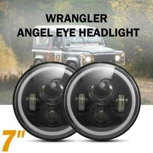 """Pair 7""""inch Round LED Headlight DRL Light for Land Rover 90/110 Defender Jeep JK"""