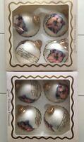 Vintage Christmas Victorian Cherubs Ornaments Lot 8 White Glass Ball Krebs